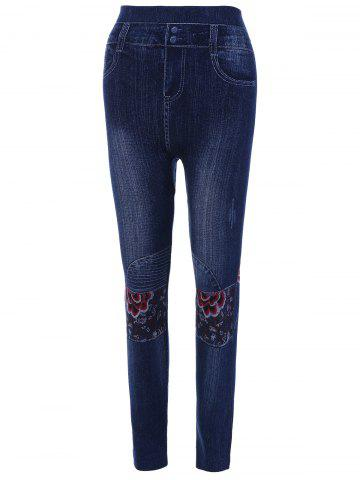 Fashion High Waisted Flower Print Ninth Jeggings