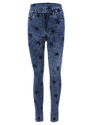 Store Star Print Skinny High Waisted Jeggings BLUE ONE SIZE