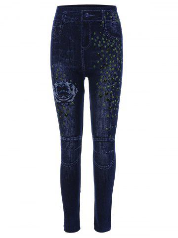 Unique Print High Waisted Skinny Jeggings DEEP BLUE ONE SIZE