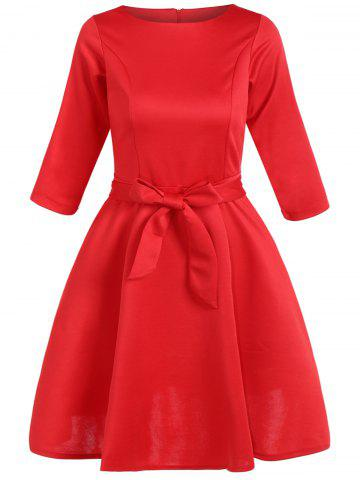 Fashion Slim Fit Bowknot Tied Belt Swing Dress RED 2XL