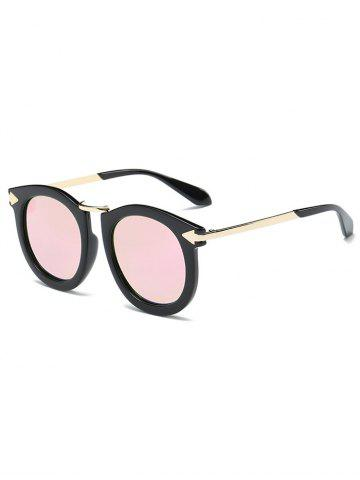 Buy Cool Arrow Mark Oval Mirrored Sunglasses PINK