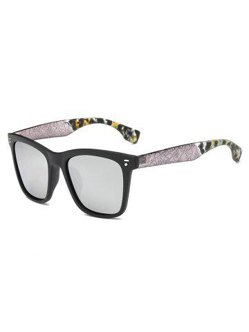 Cool Crack and Camouflage Panel Square Mirrored Sunglasses - Silver