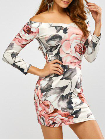 Trendy Long Sleeve Off Shoulder Floral Print Fitted Dress