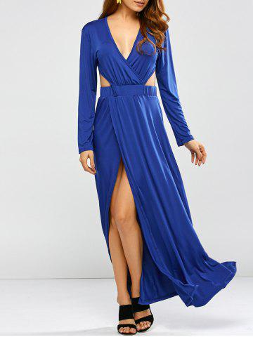 Discount Plunge Backless Long Sleeve Maxi Prom Dress BLUE XL