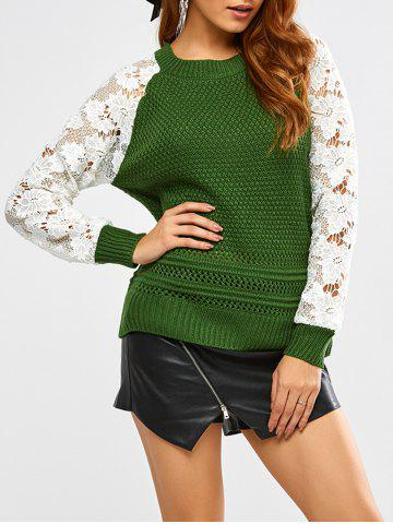 Outfits Floral Lace Insert Chunky Sweater GREEN ONE SIZE