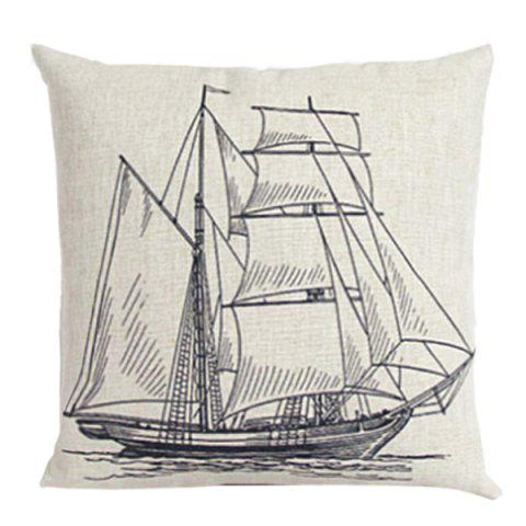 Buy Sailboat Sketch Pattern Sofa Cushion Linen Pillow Case