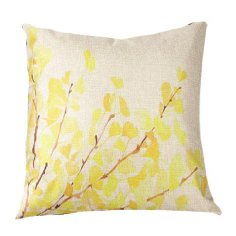 Shops Fall Leaves Printed Sofa Cushion Linen Pillow Case BEIGE