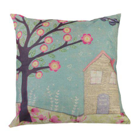 Outfit Spring Floral Printed Sofa Cushion Linen Pillow Case LIGHT BLUE