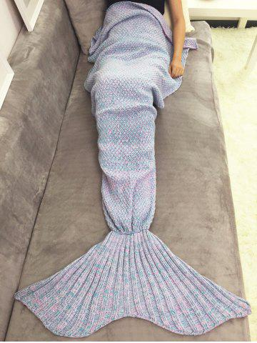 Cheap Warmth Yarn Knitted Throw Bed Mermaid Blanket - PINK  Mobile
