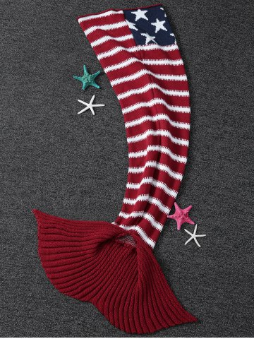 Affordable Thicken American Flag Design Knitted Mermaid Tail Blanket RED WITH WHITE