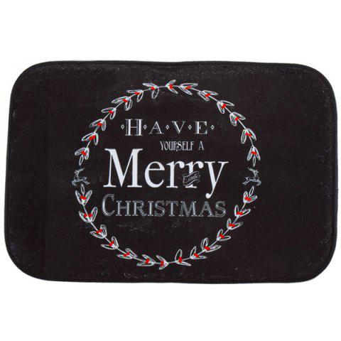 Bathroom Antiskid Water Absorb Christmas Doormat Carpeting - BLACK
