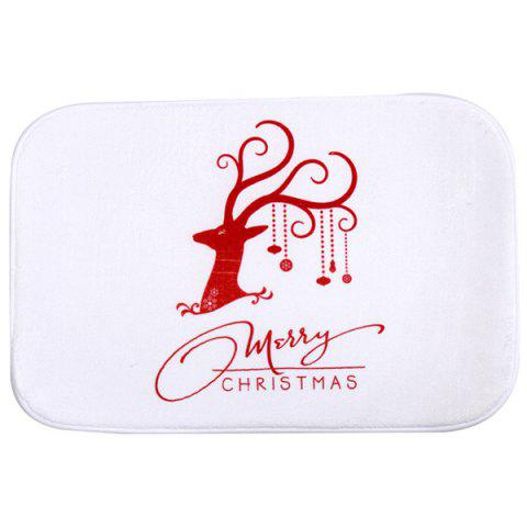 Outfit Christmas Deer Antiskid Water Absorb Bathroom Doormat Carpet - WHITE  Mobile