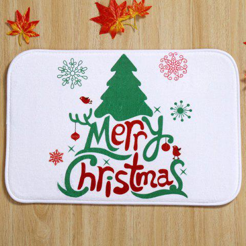 Trendy Merry Christmas Tree Antiskid Soft Absorbent Doormat Carpet WHITE