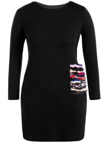 Outfit Faux Fur Trim Sweater Dress BLACK ONE SIZE