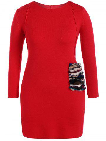 Latest Faux Fur Trim Sweater Dress