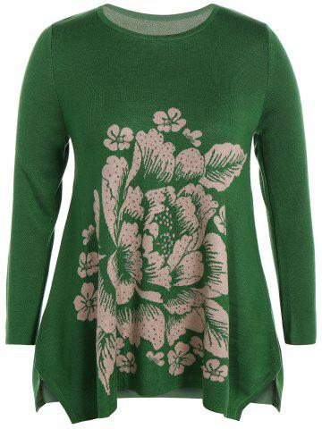 Trendy Longline Plus Size Graphic Sweater GREEN ONE SIZE