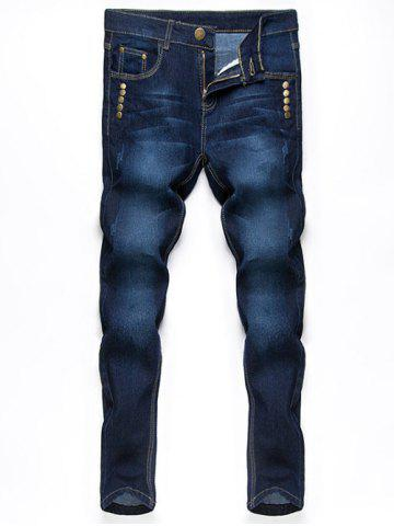 Fashion Button Embellished Zip Fly Jeans in Taper Fit DEEP BLUE 36