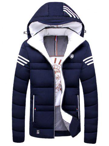 Discount Zip Up Striped Hooded Padded Jacket