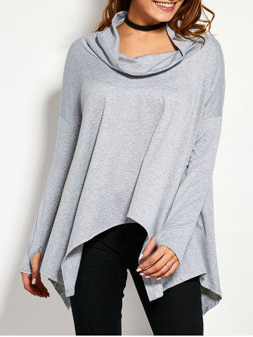 Outfits Drop Shoulder High Low Crow Neck T-Shirt GRAY XL