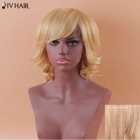 Trendy Siv Medium Oblique Bang Curly Shaggy Human Hair Wig