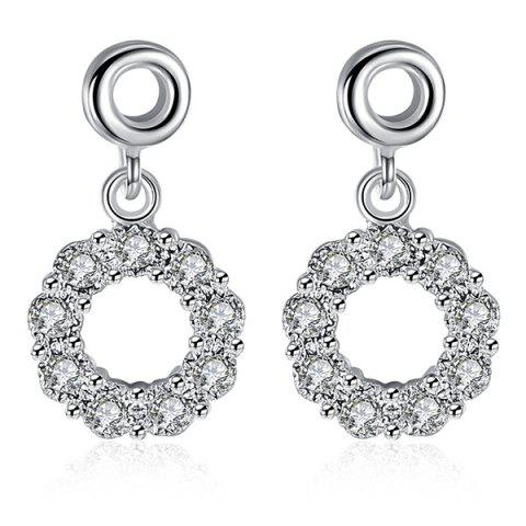 Cheap Embellished Circle Earrings SILVER