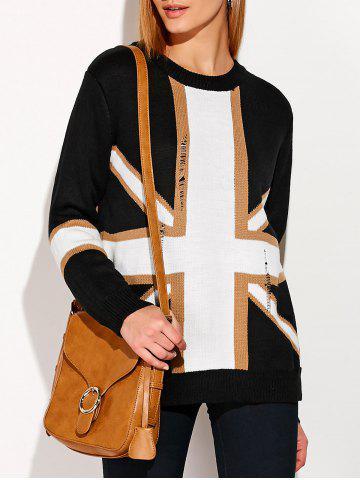 Chic Distressed Flag Graphic Sweater WHITE ONE SIZE