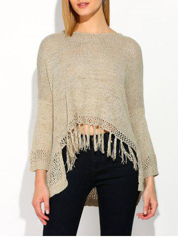 Affordable Asymmetrical Fringed Sweater