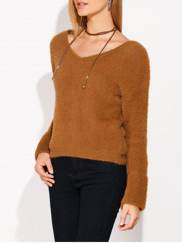Fancy Lace Up Fuzzy Sweater