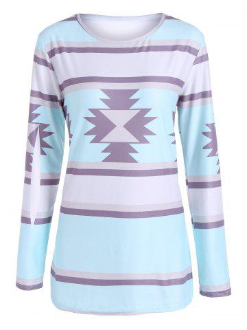 Outfit Geometric Print Striped Tee