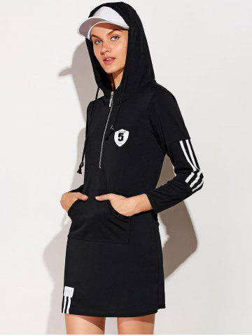 Fashion Hooded Zip Striped 5 Graphic Dress