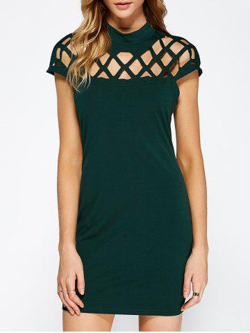 Sale Hollow Out Bandage Bodycon Mini Club Dress GREEN S