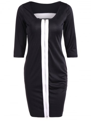 Online Zipper Design Contrast Slimming Dress