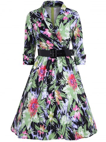 Outfits Flower Print Belted Swing Dress
