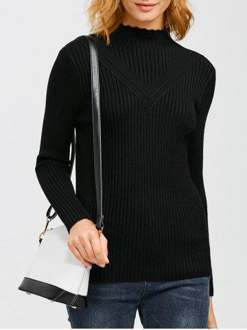 Outfit High Neck Openwork Ribbed Sweater