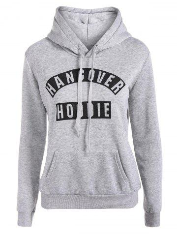 Chic Letter Print Drawstring Hoodie with Pockets GRAY XL