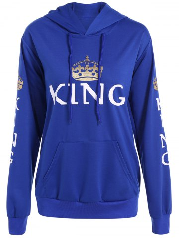 Buy Pullover King Print Drawstring Hoodie - Blue XL
