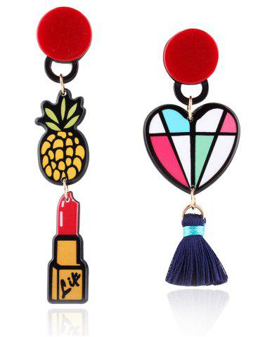 Shops Asymmetric Lipstick Tassel Heart Drop Earrings COLORMIX