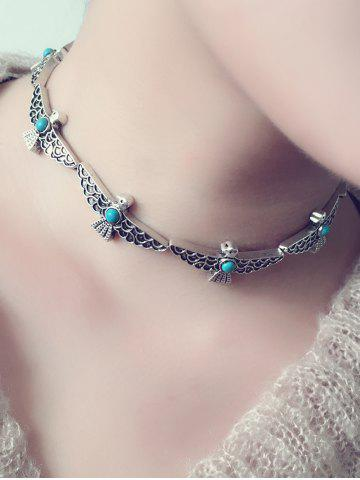 Store Artificial Turquoise Peace Dove Choker Necklace