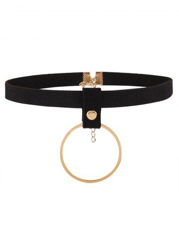 Faux Leather Velvet Circle Choker Necklace - Golden