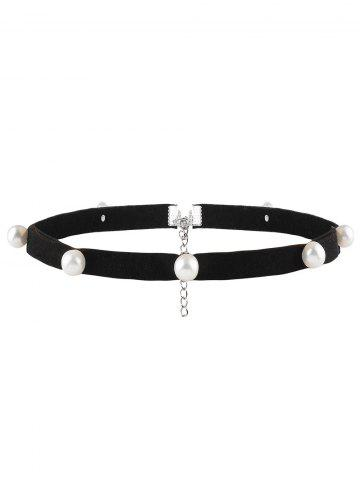 Outfit Faux Pearl Leather Velvet Choker Necklace