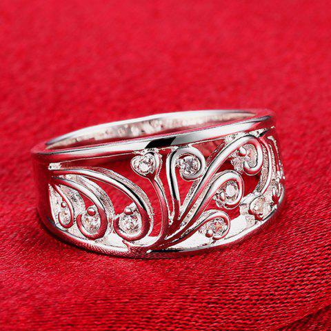 Fancy Hollow Out Rhinestone Ring - 8 SILVER Mobile