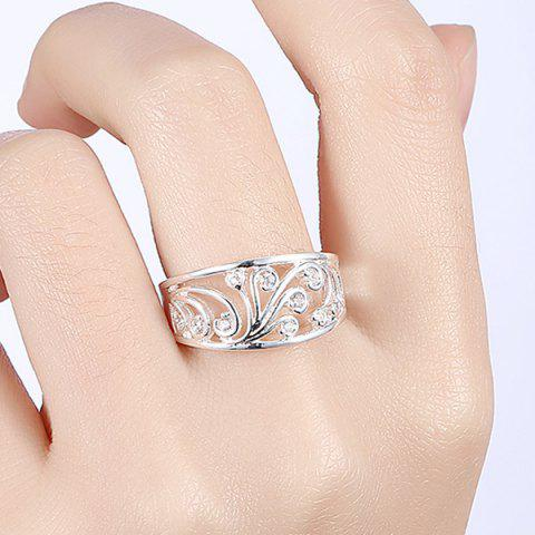 Discount Hollow Out Rhinestone Ring - 8 SILVER Mobile