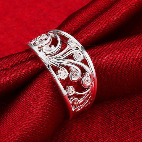 Trendy Hollow Out Rhinestone Ring - 8 SILVER Mobile
