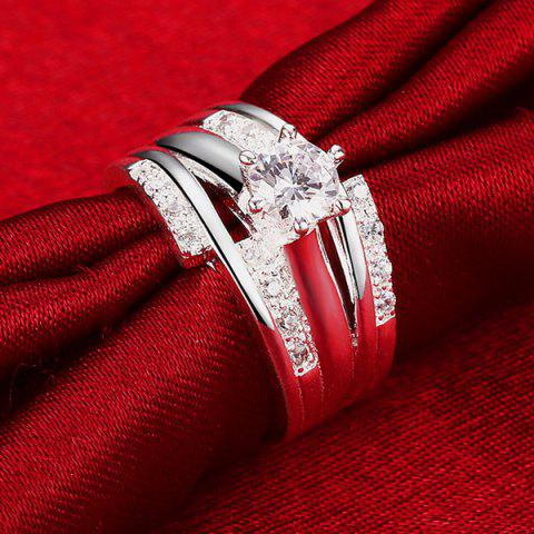 New Layered Rhinestone Ring - 8 SILVER Mobile