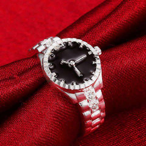 Online Rhinestone Watch Ring - 8 SILVER Mobile