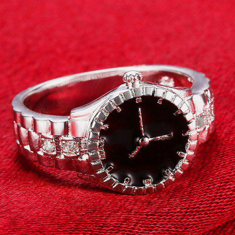 Outfit Rhinestone Watch Ring - 8 SILVER Mobile