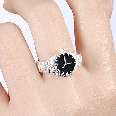 Fashion Rhinestone Watch Ring - 7 SILVER Mobile