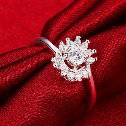 Outfits Rhinestoned Flower Ring - 8 SILVER Mobile