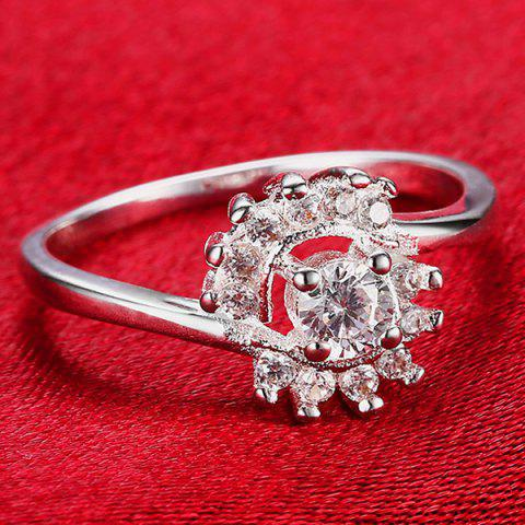 Discount Rhinestoned Flower Ring - 8 SILVER Mobile