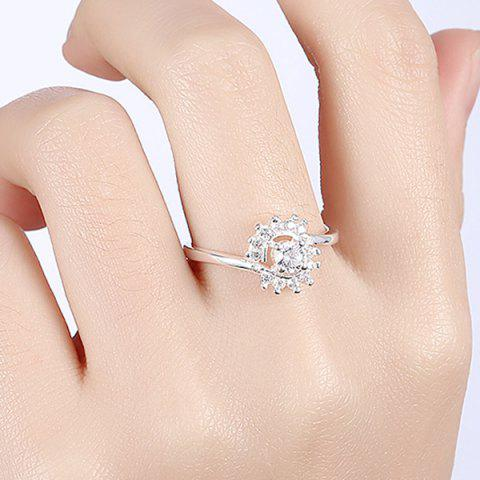 Outfit Rhinestoned Flower Ring - 8 SILVER Mobile